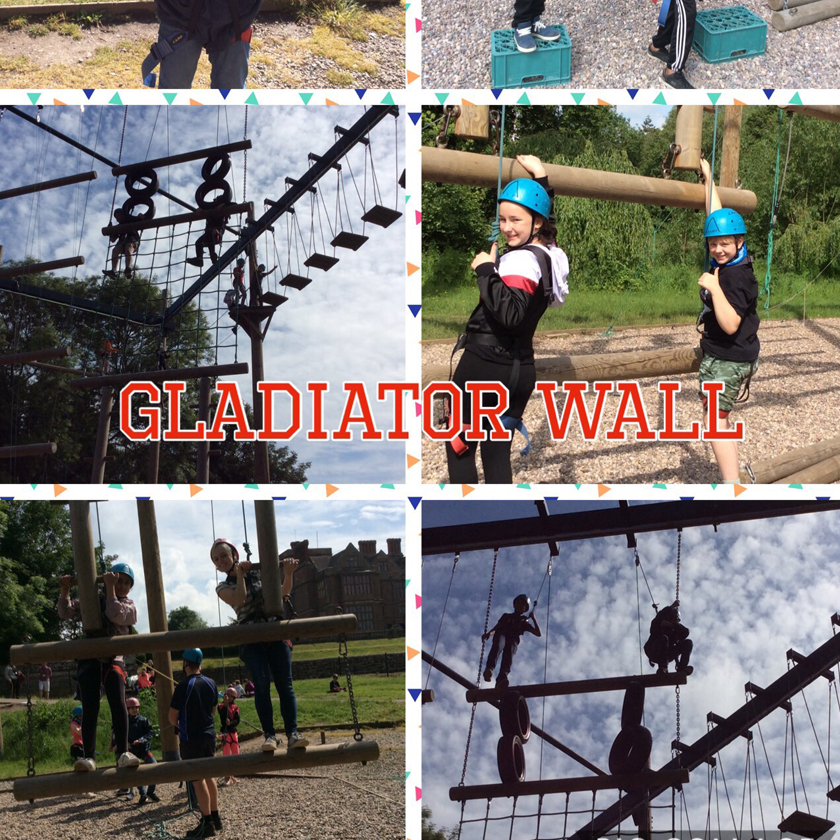 Group 1's final activity was Gladiator Wall (featuring Daniel the rabbit catcher!)